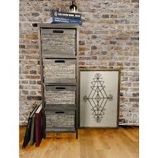 jia home espresso wood storage cabinet with 4 wicker baskets