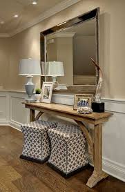 skinny entryway table. Wooden Console Table With Lamp And Large Wall Mirror Skinny Entryway N
