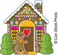 cute gingerbread house clipart. Gingerbread House And Man Cute Little Decorated On Clipart