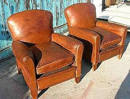 vintage leather club chairs. Vintage French Leather Club Chairs - Crevecoeur Pair