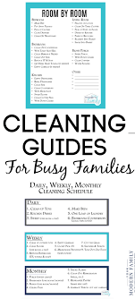Daily Weekly Monthly Chore Chart Daily Weekly Monthly Cleaning List With Kids Free Printable