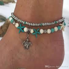 Bohemian Retro Charm Carved Turtle Pendant Anklet Bracelets <b>Set</b> ...