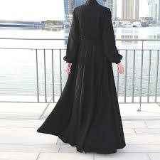 Kabayare Fashion Size Chart Black Fukuro Jersey Abaya Maxi Dress With Belt And Long Sleeves Trendy Modern Abaya Plus Size Black Collared Maxi Dress Church Dress