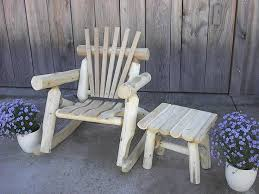 log cabin outdoor furniture patio. rustic white cedar log porch patio rocking chair a great look for cabin outdoor furniture