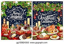 christmas dinner poster vector clipart christmas dinner poster of festive dishes on table