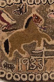 antique folk art hooked rug pair horses cats sheep owls birds