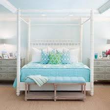 Gray Faux Bamboo Canopy Bed Design Ideas