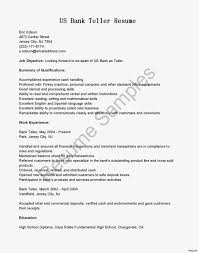 Bank Teller Resume With No Experience Sample Resume For Study
