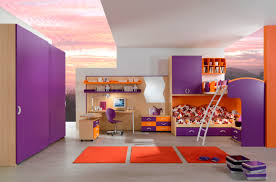 bedroom design for teenagers with bunk beds. Design Magnificent Teenage Bedroom Decoration With Various Cool Bunk Bed : Incredible Purple Orange For Teenagers Beds