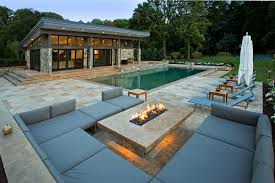 Pool Design Astonishing Modern Pool Design With Grey Sofa And Fireplace