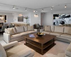 Comfortable Modern Striped Sofa Set And Track Lighting Living Room Mixed  With Wall Art Feats Square