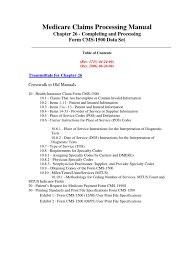 Cms 1500 Form Cms Manual Chapter 26 Medicare United States