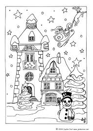A color palette for home design has the power to set the mood for a room, as well as the three basic color schemes for your house below are listed from lowest to highest energy: Christmas Village Coloring Pages Snow Covered House For Xmas Christmas Coloring Books Coloring Pages Christmas Coloring Pages