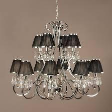 oksana nickel 12 light chandelier with black shades interiors 1900