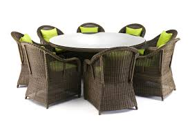 round outdoor dining sets.  Dining Saba 9 Piece Round Outdoor Wicker Dining Set And Sets