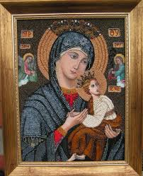 rac lila artwork our lady of perpetual help icon original beads art