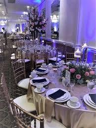 Crystal Light Banquets Chicago Gold Satin Floor Length Table Cloths Gold Satin Napkins