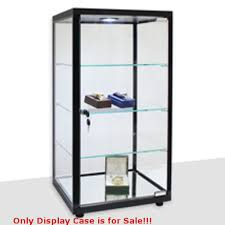 details about retails black lighted square countertop glass display case 14 in w x 12 in d