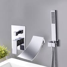 black wall mount waterfall tub faucet
