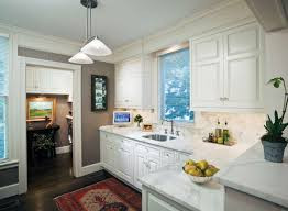 Small White Kitchen Small White Kitchen With Great Marble Counters Love The Greige