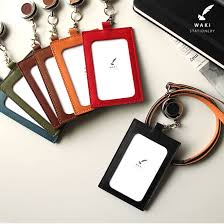 wake stationery original vertical id card id card lanyard reel with leather id card holder gift