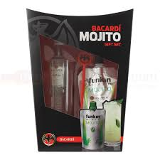 bacardi funkin mojito l pack with gl and stirrer 5cl miniature gift pack 120g