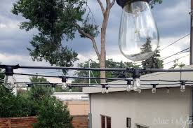 commercial patio lights. String Lights Attached To Guide Wire Commercial Patio