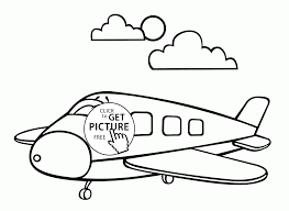 Small Picture Cartoon Airplane Smiling coloring page for toddlers