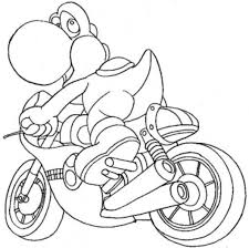 Kart Coloring Pages Yoshi Free Printable Kids Mario Coloring
