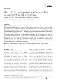 Loughborough University Architectural Engineering And Design Management Pdf The Role Of Design Management In The Sustainable