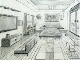 One Point Perspective Bedroom Drawing One Point Perspective Fancy Bed Room  One Point Perspective Drawing Interior Design