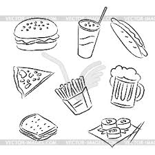 fast food clipart black and white. Simple White And Fast Food Clipart Black White K
