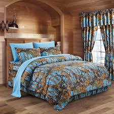 the woods powder blue camouflage full 8pc premium luxury comforter sheet pillowcases and bed skirt set by regal comfort camo bedding set for hunters