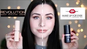 new makeup revolution foundation stick vs makeup forever foundation stick