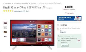 hitachi smart tv. hitachi 55 inch 4k ultra hd fvhd smart tv £359.99 + free cac with code tvs10 @ argos.co.uk - hotukdeals tv