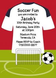 Soccer Party Invite Soccer Jersey White Red And Black Birthday Party Invitations