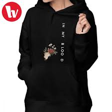 Shawn Mendes Hoodie Size Chart Us 19 8 40 Off Shawn Mendes Hoodie In My Blood Shawn Mendes Hoodies Oversized Navy Blue Hoodies Women Simple Printed Cotton Pullover Hoodie In