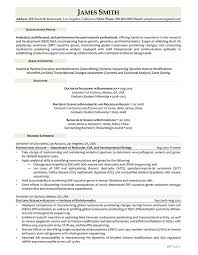 Bioinformatics Resume Sample