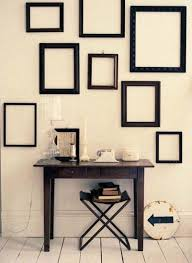 Empty picture frames on wall Wall Layout Lushome Empty Picture Frames Stylish Wall Decoration Ideas