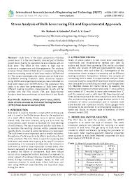 Pdf Stress Analysis Of Bulk Lever Using Fea And