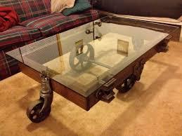 Glass coffee table wheels vintage