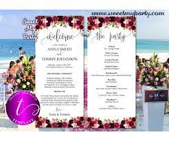 Templates For Wedding Programs Floral Burgundy Wedding Program Tea Length Template 032w
