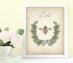 amazon com bee art bee bathroom print bee home decor vintage bee