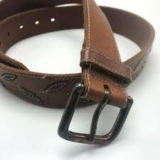 details about vintage gap brown leather belt m womens green orange leaves wide