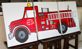 fire truck triptych art fire truck bedroom decor our custom fire engine wall art is
