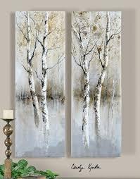 contemporary panel artwork birch tree panel art set of 2 41810 art