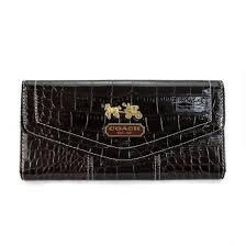 Coach Madison In Embossed Large Coffee Wallets EDO