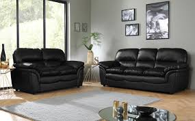 gallery rochester black leather sofa suite 3 2 seater