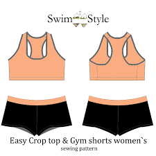 Crop Top Sewing Pattern Classy GymwearEasy Crop Top Gym Shorts Pattern Swim Style