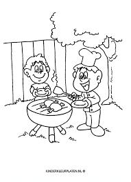 Kleurplaat Bbq Barbecue Kok Kippetje Beroepen